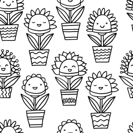 Seamless pattern with abstract funny kawaii smiling potted flowers, coloring page for kids and adults