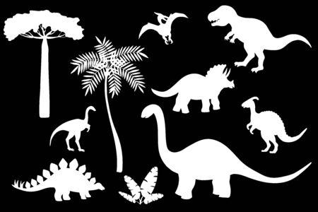 Vector set of dinosaur silhouettes, white stencil on a black background: stegosaurus, Triceratops, Tyrannosaurus, Brontosaurus, pterodactyl and others