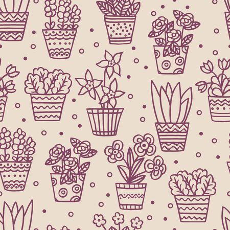 Vector seamless pattern with hand-drawn indoor plants and flowers, brown outline on a beige background, for packaging design, covers, postcard design, textile print