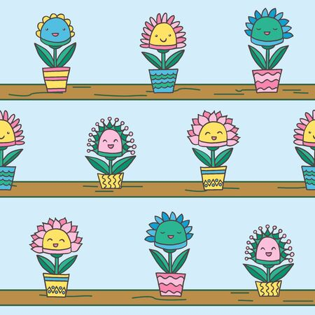 Seamless pattern with abstract funny kawaii smiling potted flowers, on shelves, on a blue background, for packaging design, covers, postcard design, textile print