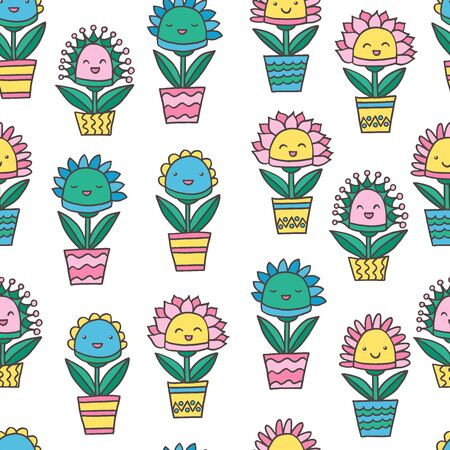Seamless pattern with abstract funny kawaii smiling potted flowers, on white background, for packaging design, covers, postcard design, textile print