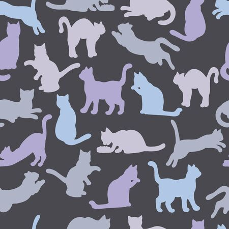 Vector seamless pattern of multi-colored silhouettes of cats on a dark background: : cat eats, sleeps, sits, washes, jumps, plays. For design of covers, books, packaging, print on wallpaper, textiles Иллюстрация