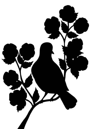 Vertical picture with a black silhouette of a bird on a branch with abstract flowers on a white background
