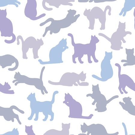 Vector seamless pattern with silhouettes of cats on a white background: cat eats, sleeps, sits, washes, jumps, plays. For design of covers, books, packaging, print on wallpaper, textiles  イラスト・ベクター素材
