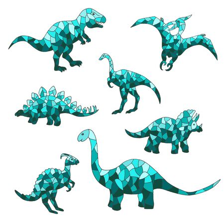 Vector set of abstract blue dinosaurs on a white background. For design of mosaics, stained glass, covers, packages, and textile prints