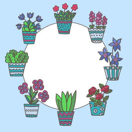 Vector round frame with hand-drawn potted potted flowers on a blue background Иллюстрация