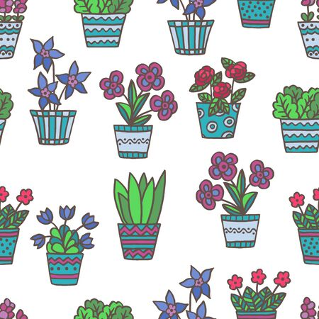 Vector seamless pattern with hand-drawn multi-colored potted flowers on a white background, for design of covers, books, packaging, print on wallpaper, textiles