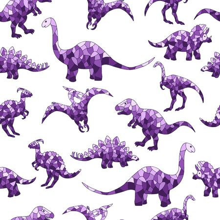 Vector seamless pattern of abstract purple dinosaurs on a white background, for design of mosaics, stained glass, covers, packages, and textile prints Иллюстрация