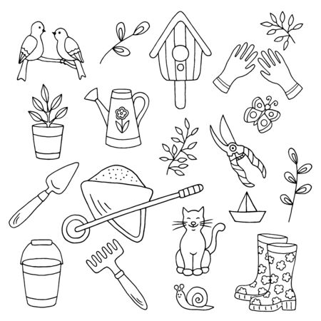 Vector doodle set with hand-drawn garden tools, spring plants and animals, coloring page for children and adults, black outline on a white background Иллюстрация