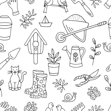 Vector doodle seamless pattern with hand-drawn garden tools, spring plants and animals, coloring page for children and adults, for book design, packaging, cover, black outline on white background