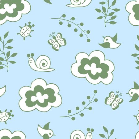 Vector seamless pattern with hand-drawn spring childrens doodle set: cloud, snail, bird, butterfly, beetle, branch with leaves, twig with berries on a blue background. For the design of covers, packaging, postcards, and textile prints