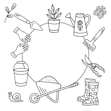 Vector doodle frame with hand-drawn garden tools and plants in spring, coloring page for children and adults