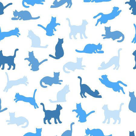 Vector seamless pattern with blue silhouettes of cats on a white background: cat eats, sleeps, sits, washes, jumps, plays. For design of covers, books, packaging, print on wallpaper, textiles