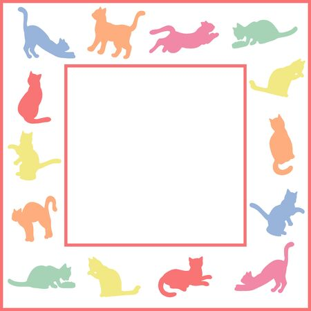 Vector bright childrens frame with multi-colored silhouettes of cats on a white background