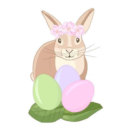 Vector cute Easter Bunny, rabbit with a wreath of flowers with colorful eggs, isolate on a white background