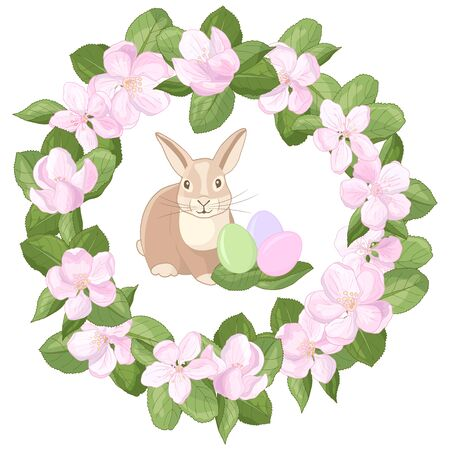 Vector Easter Bunny rabbit with multicolored eggs in a frame wreath of pink apple blossom flowers on a white background Иллюстрация