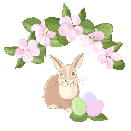 Vector rabbit with colorful Easter eggs and apple blossom flowers on a white background