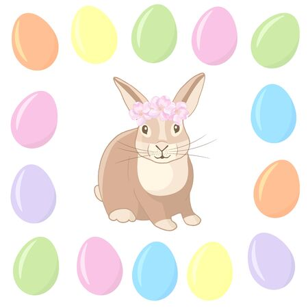 Easter. Vector cute rabbit in a frame of colored eggs on a white background