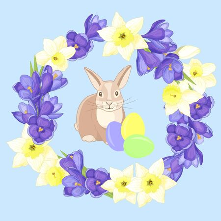 Easter, spring. Vector cute rabbit in a round frame - wreath of purple crocuses and yellow daffodils on a blue background Иллюстрация