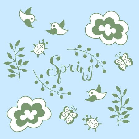 Vector spring doodle set with branches, clouds, butterflies, birds, bugs, green outline on a blue background
