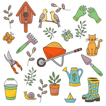 Vector bright spring set of garden tools, plants and animals on a white background Иллюстрация