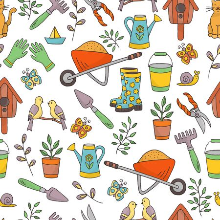 Vector seamless pattern with a set of garden tools on a white background, hand-drawn doodles, for the design of covers, packaging, postcards, and textile prints Ilustração