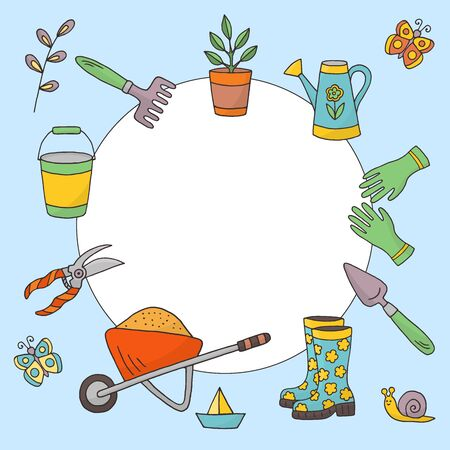 Vector frame with a set of garden tools on a white background, hand-drawn doodles