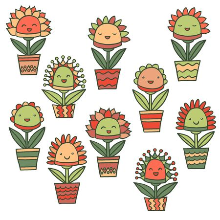 Vector set with abstract hand-drawn funny kawaii smiling potted flowers on a white background, for packaging design, covers, postcard design, textile print Vetores