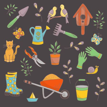 Vector bright spring hand drawn set of garden tools, plants and animals on a dark background, for the design of books, stickers, packaging covers, and textile prints