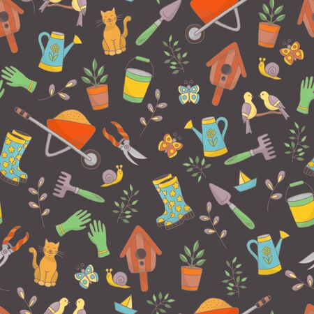 Vector bright spring hand drawn seamless pattern with a set of garden tools, plants and animals on a dark background, for the design of books, stickers, packaging covers, and textile prints