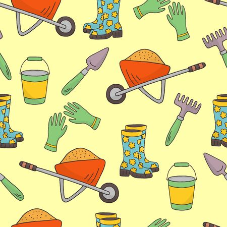 Vector seamless pattern with hand-drawn garden wheelbarrow, shovel, rake, gloves, boots on a cheerful bright yellow background, for the design of covers, packaging, print on textiles