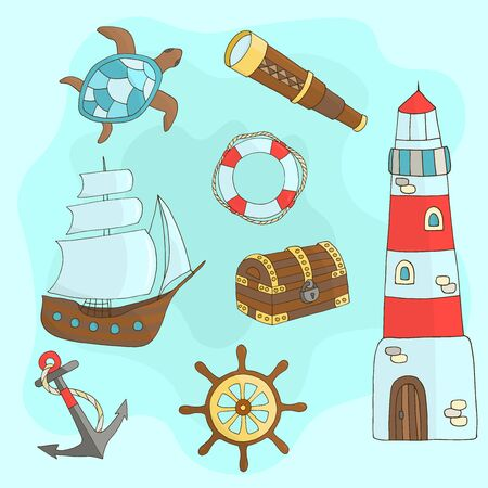 Vector set of hand-drawn marine themes on a blue background: ship, lighthouse, steering wheel, chest, sea turtle, anchor, lifebuoy, telescope