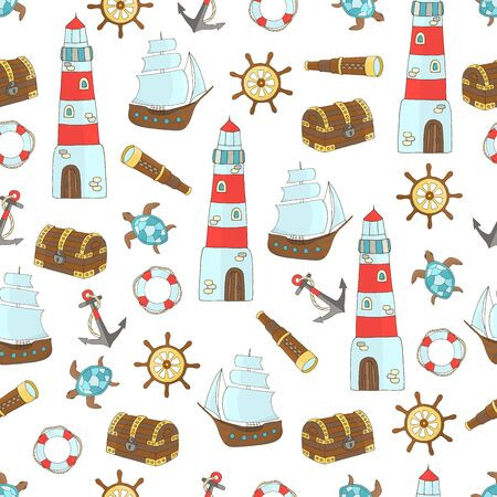 Seamless pattern with a set of marine themes with a ship, lighthouse, steering wheel, sea turtle, anchor, treasure chest, lifebuoy, telescope on a white background, for design of covers, books, packaging, print on wallpaper, textiles