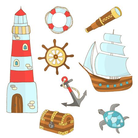 Vector set of hand-drawn marine themes on a white background: ship, lighthouse, steering wheel, chest, sea turtle, anchor, lifebuoy, telescope, for the design of postcards, books, covers, packages, and textile prints 向量圖像