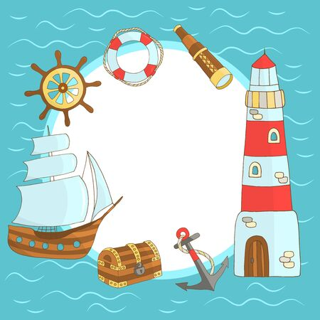 Vector frame of hand-drawn marine themes on a blue background: ship, lighthouse, steering wheel, chest, sea turtle, anchor, lifebuoy, telescope, for the design of postcards, books, covers, packages, and textile prints
