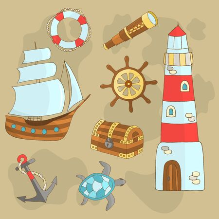 Vector set of marine themes with a ship, lighthouse, steering wheel, sea turtle, anchor, treasure chest, lifebuoy, telescope on a beige sand background, for design of covers, books, packaging, print on wallpaper, textiles