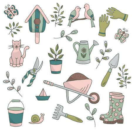 Vector bright spring set of garden tools, plants and animals on a white background, , for the design of books, stickers, packaging covers, and textile prints Иллюстрация