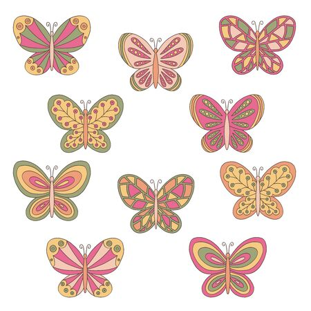 Vector set with abstract hand drawn multicolored butterflies on a white background Иллюстрация