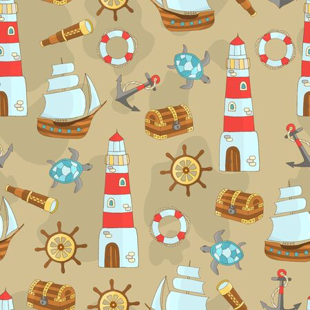 Seamless pattern with a set of marine themes with a ship, lighthouse, steering wheel, sea turtle, anchor, treasure chest, lifebuoy, telescope on a beige sand background, for design of covers, books, packaging, print on wallpaper, textiles