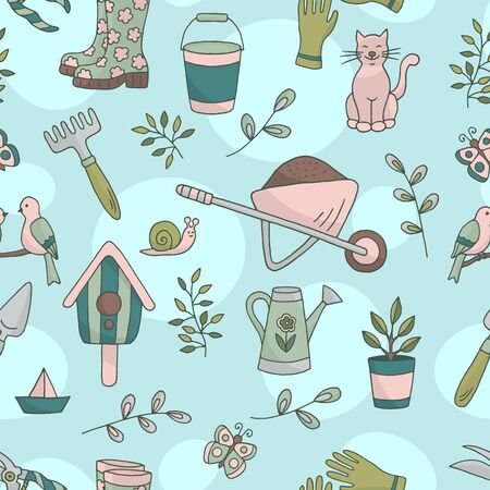 Vector bright spring hand drawn seamless pattern with a set of garden tools, plants and animals on abstract background, for the design of books, stickers, packaging covers, and textile prints