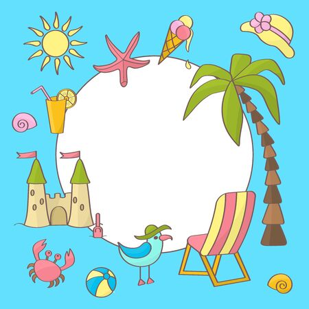 Vector frame on the theme of summer sea holidays: palm tree, sun, crab, chaise longue, Seagull, sand castle, ball, ice cream, starfish, shells, juice on a blue background. For cover design, packaging, textile printing