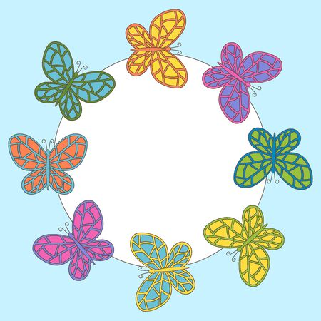 Vector decorative frame with multi-colored hand-drawn abstract butterflies Иллюстрация