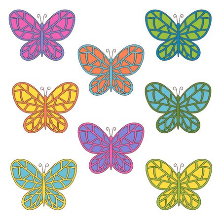 Vector set with beautiful abstract hand-drawn multicolored butterflies on a white background, for cover design, packaging, greeting cards, textile print