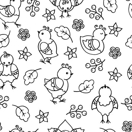 Vector seamless pattern with hand-drawn abstract funny chickens and birds. Doodle illustration. Coloring page for children and adults.