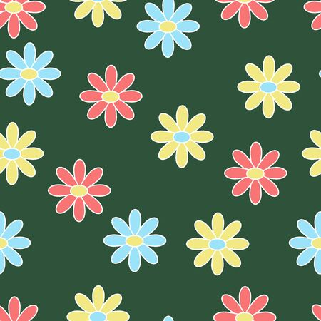 Vector simple seamless pattern with primitive multicolored flowers on a green background, for the design of books, stickers, packaging covers, and textile prints
