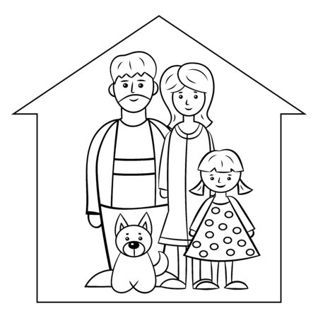Family: mom, dad, daughter and dog at home in isolation. Stay home, quarantine. Vector illustration. Coloring page for children and adults