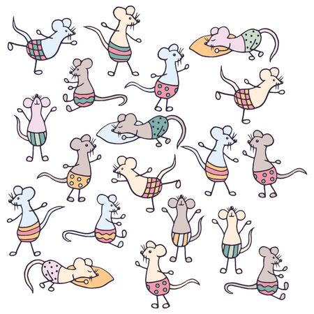 Vector set of cute funny hand-drawn mice, isolate on a white background Vectores