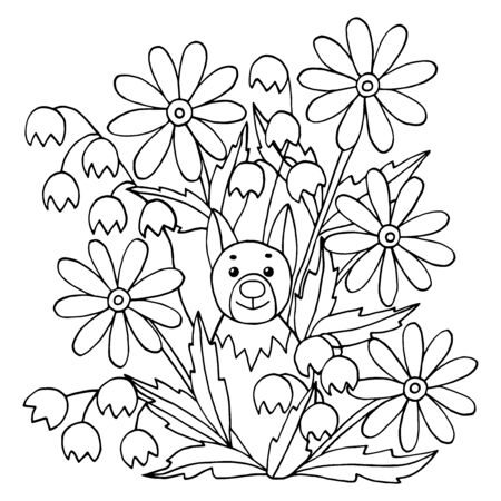 Coloring page with cute funny dog and wild flowers. Square version. Vector illustration with animals and nature for children's books.