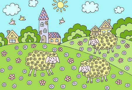 Multi-colored cartoon picture with three sheep in a meadow near the village in summer. Vector illustration for children's book design