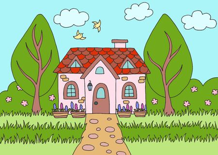 Cartoon picture with a cute house in nature. Vector illustration for children's book design Ilustracja